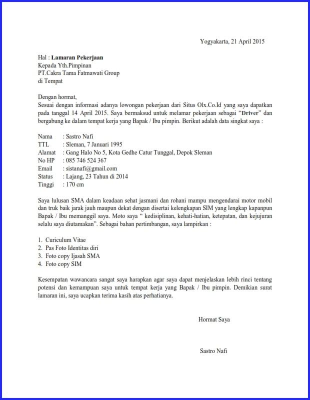48 Contoh Surat Lamaran Kerja Sopir Tulisan Tangan