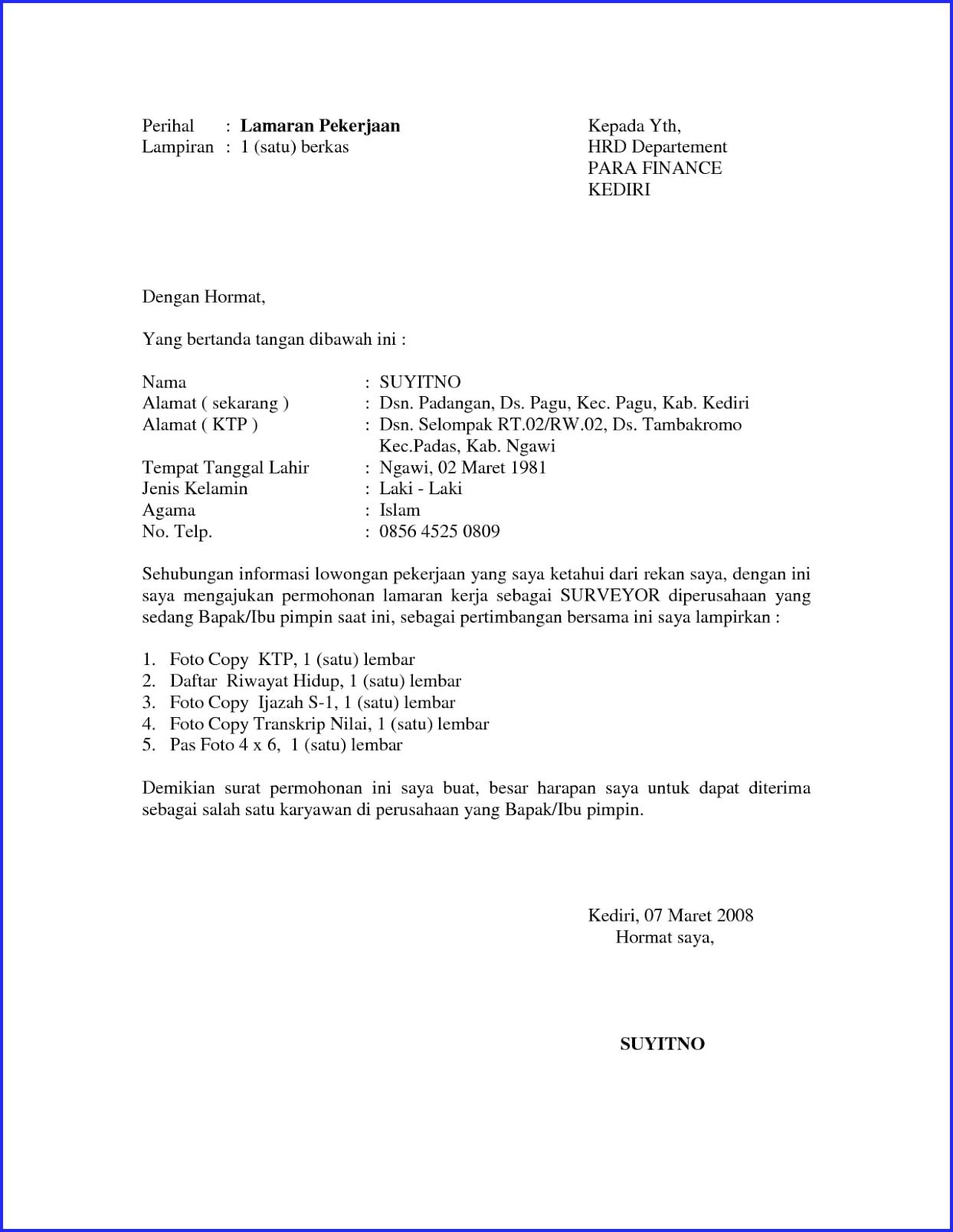 contoh surat lamaran kerja perusahaan swasta