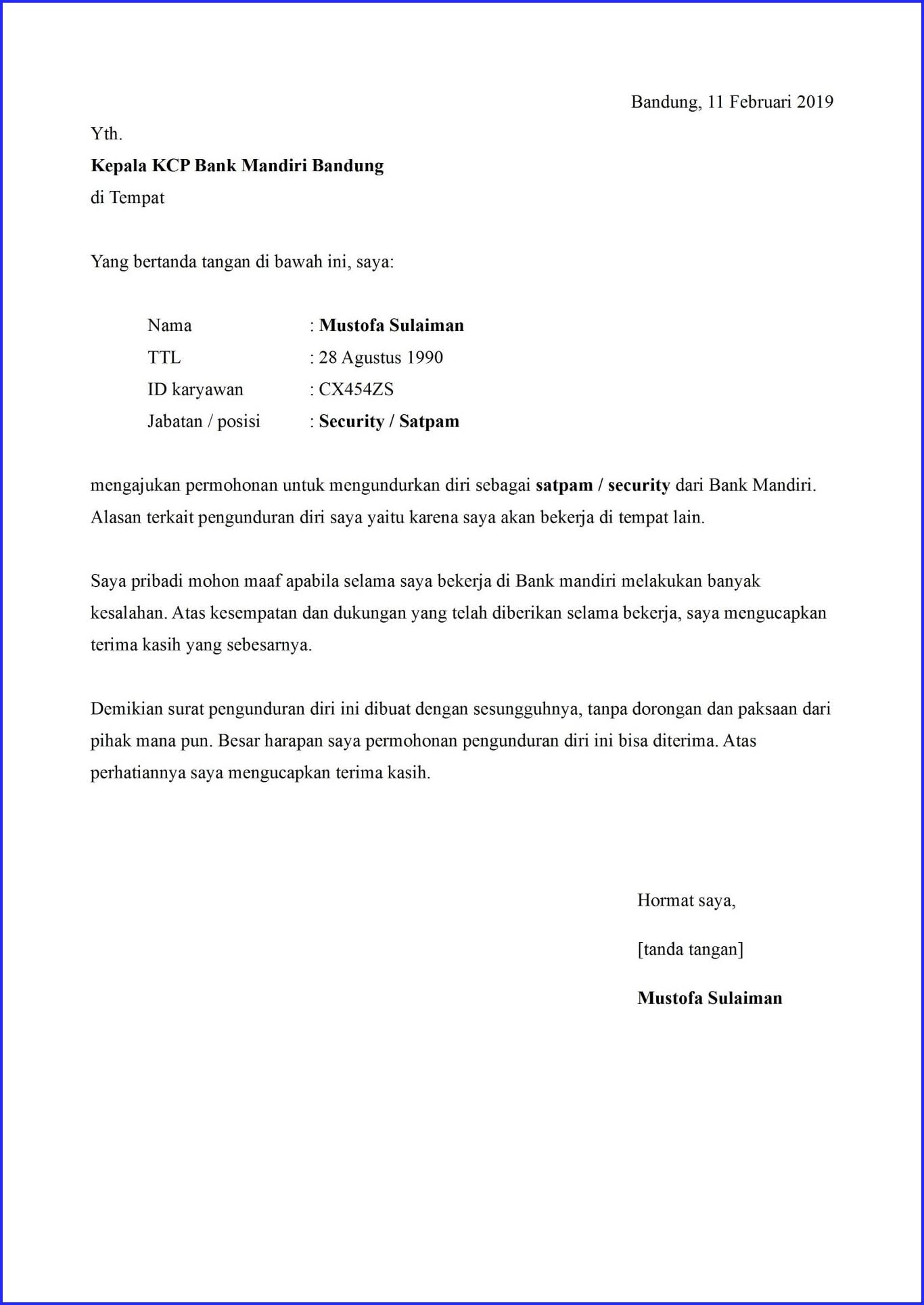 Permohonan Pengunduran Contoh Surat Pengunduran Diri Dari Pekerjaan
