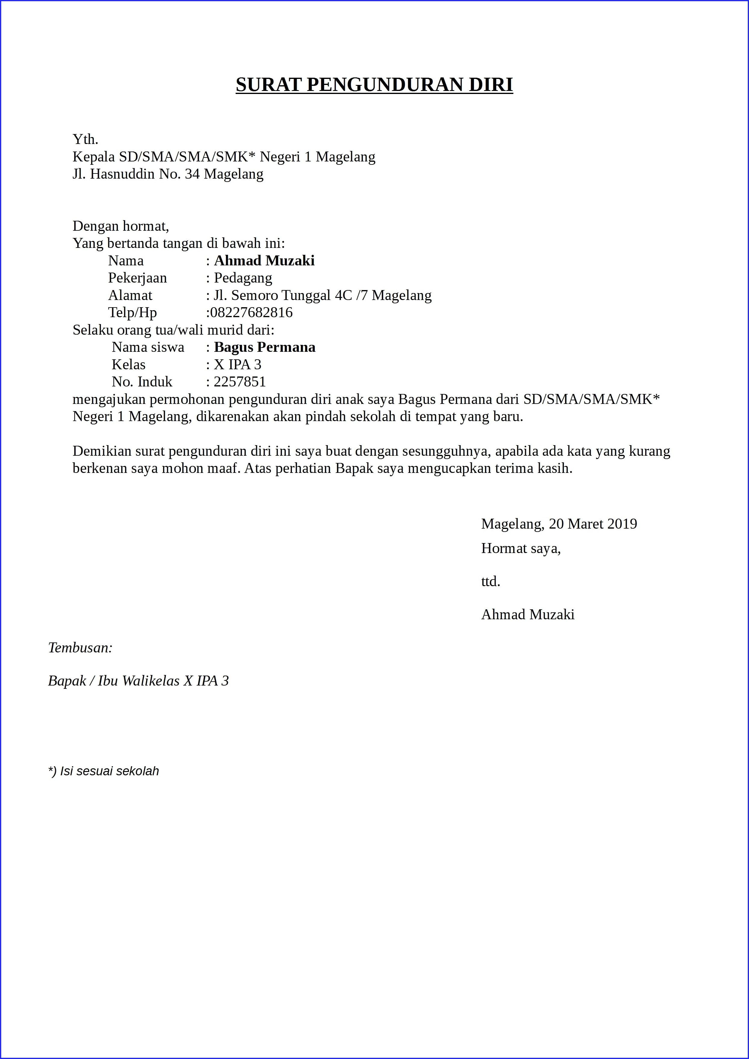 Contoh Surat Pengunduran Diri Dari Pekerjaan Security