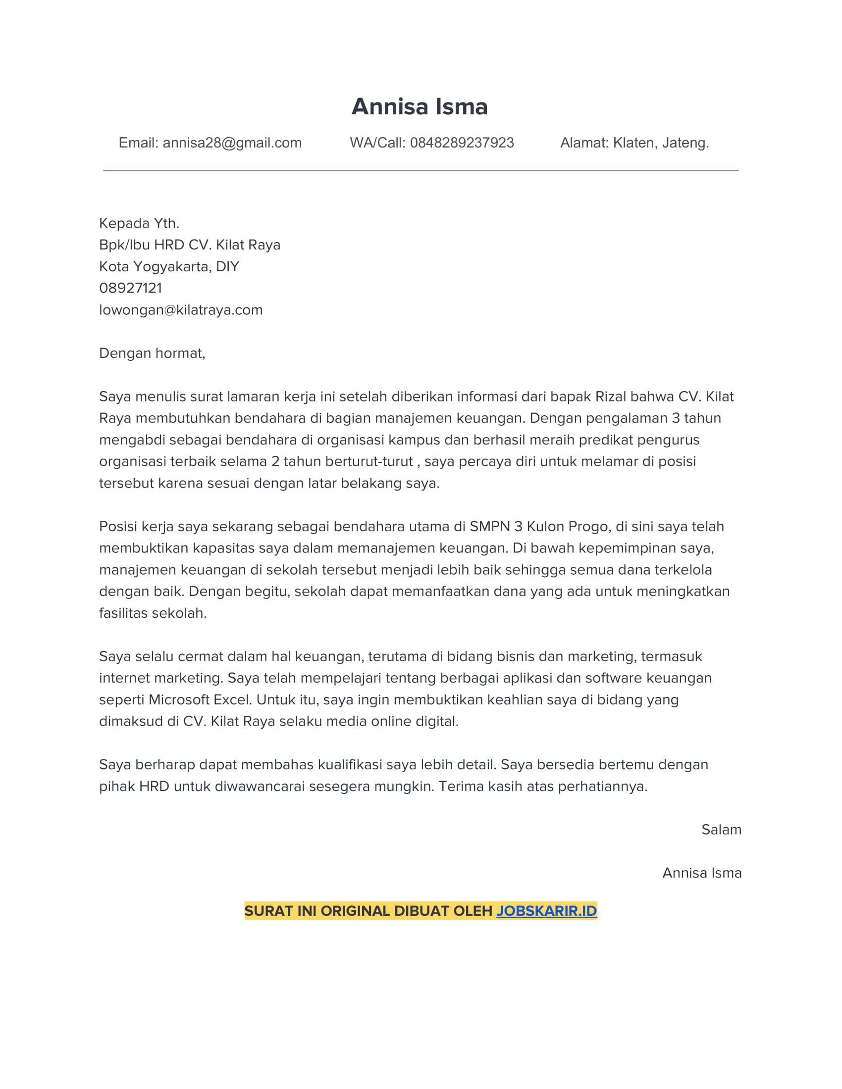 contoh application letter 47 Bendahara