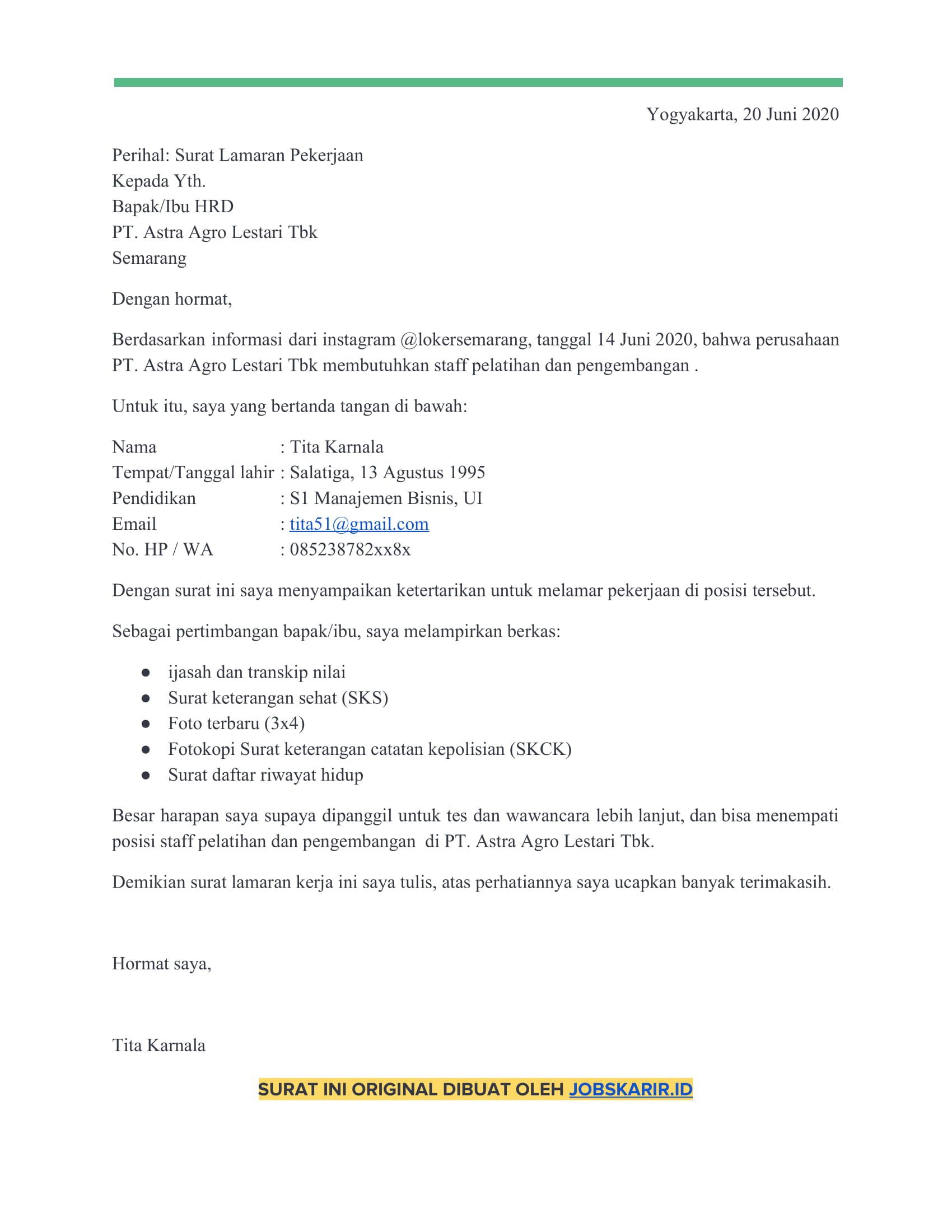 contoh cover letter 38 Pelatihan dan pengembangan