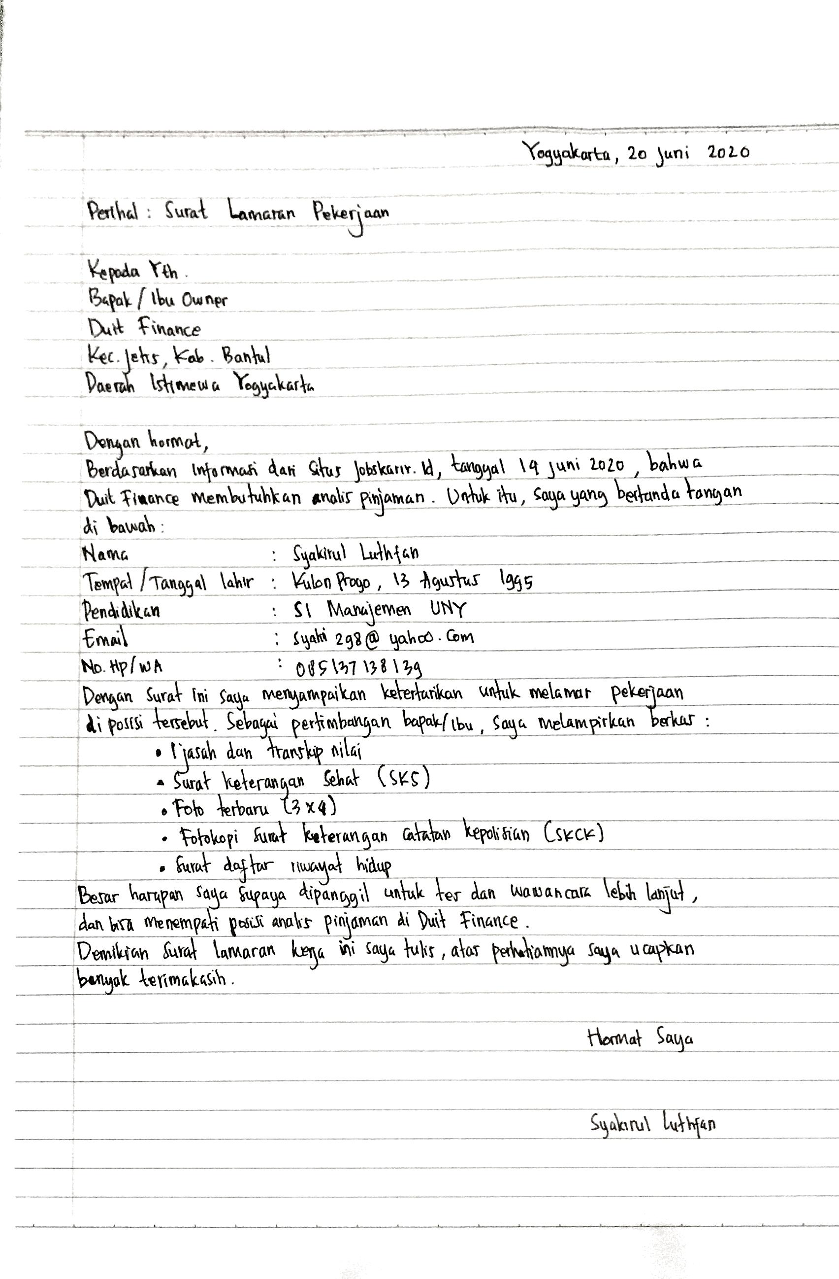 contoh surat lamaran kerja tulis tangan analis pinjaman